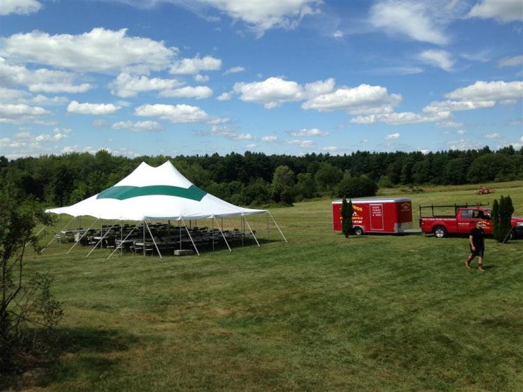 30x40 Pole Tent Green Stripe