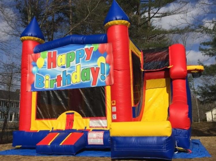 Happy Birthday Castle Slide - 18' x 17' Outside Slide
