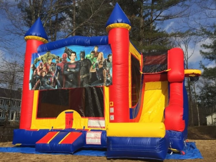 Castle Slide Superheroes - 18' x 17' Bounce House